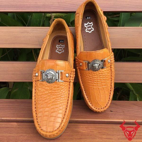 Giày Mọi Da Cá Sấu Thật GCS19 Vàng Bò Da Bụng