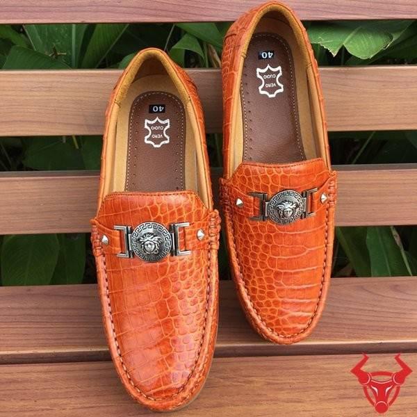 Giày Mọi Da Cá Sấu Thật GCS18 Vàng Cam