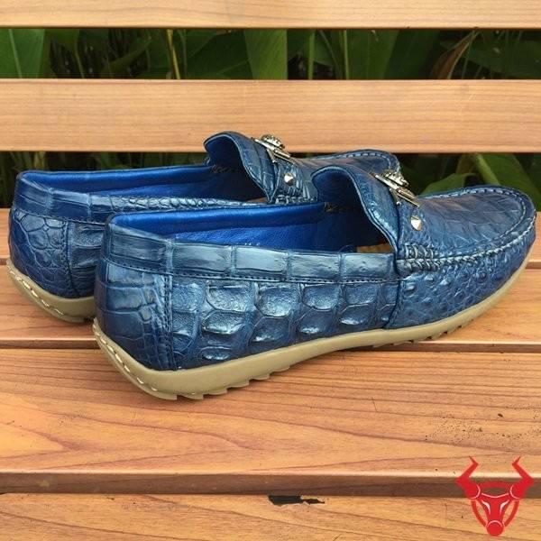 Giày Mọi Da Cá Sấu Thật Xanh Đậm GCS17