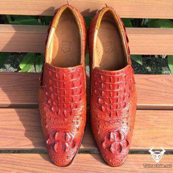 Giày da cá sấu hoa cà giá rẻ GCS07
