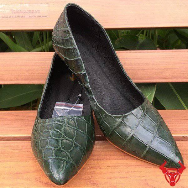 Giày Da Cá Sấu Nữ Xanh Rêu GN05