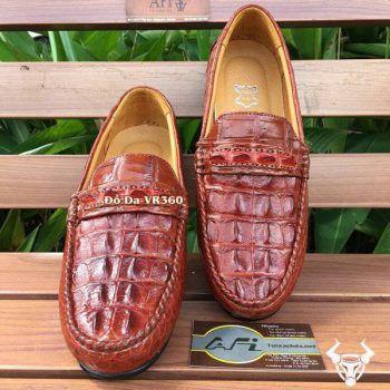 Giày Mọi Da Cá Sấu Nâu Đỏ GCS15