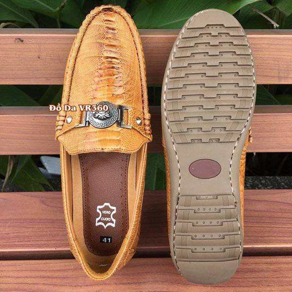 Giày Lười Da Đà Điểu DD04 Kiểu Vây Chân