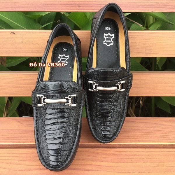 Giày Lười Đà Điểu Thật GC01D1 Kiểu Vây Chân Đen