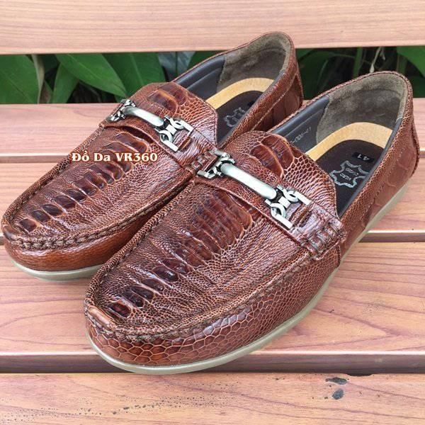Giày Mọi Đà Điểu GC04D1 Vây Chân Nâu Đỏ