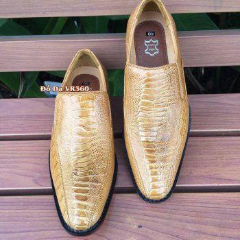 Giày Tây Da Đà Điểu Thật DD07 Kiểu Vây Chân