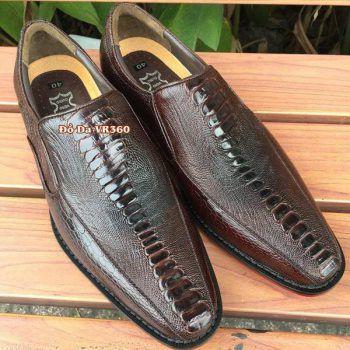 Giày Tây Đà Điểu DD09 Kiểu Vây Chân Nâu Đen