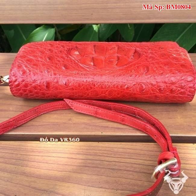 Bóp 3 Gấp Đeo Chéo Nữ Da Cá Sấu Màu Đỏ BM0804