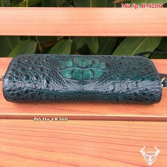 Bóp 3 Gấp Đeo Chéo Nữ Da Cá Sấu Màu Ve Chai BM2204