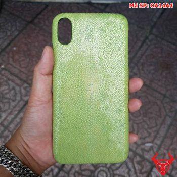 Ốp Lưng Da Cá Đuối Iphone XS MAX Xanh Rêu OA14A4