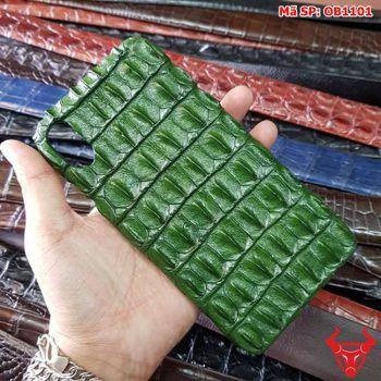 Ốp Lưng Da Cá Sấu Iphone X Gai Lưng Xanh Lá OB1101