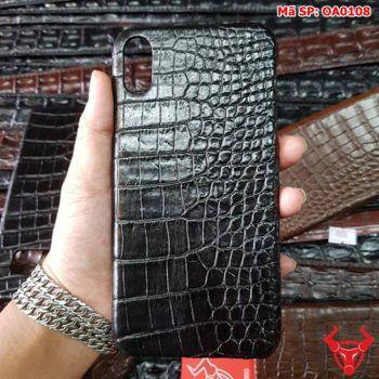 Ốp Lưng Da Cá Sấu Iphone XS Max Đen Trơn OA0108