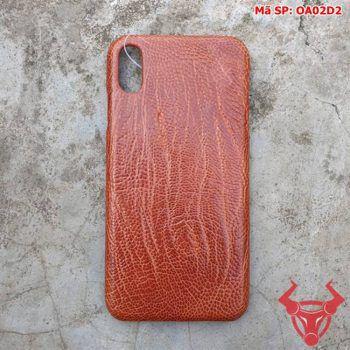Ốp Lưng Da Đà Điểu Iphone XS Max Nâu Đen OA02D2