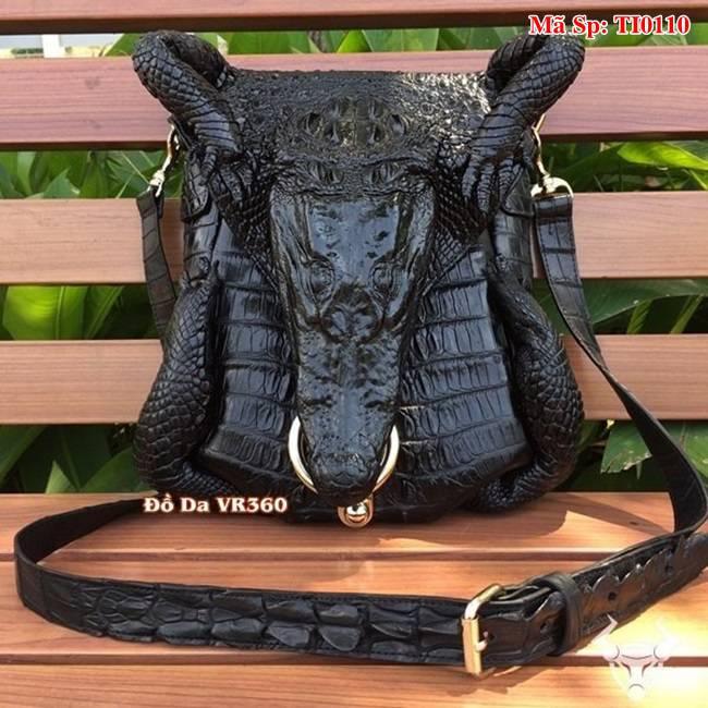 Túi Da Cá Sấu Đầu Cá Sấu Thật TI0110