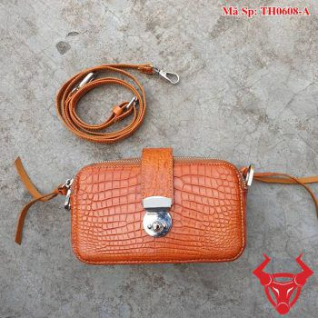 Túi Da Cá Sấu Nữ Màu Cam TH0608-A