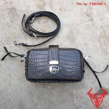 Túi Da Cá Sấu Nữ Màu Đen TH0108-A
