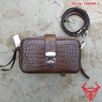 Túi Da Cá Sấu Nữ Màu Nâu TH0208-A