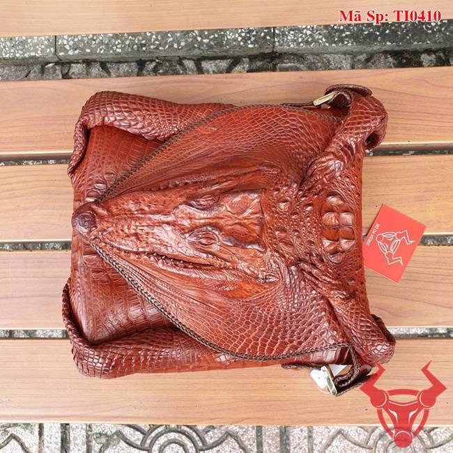 Túi Đeo Ngực Da Cá Sấu Đầu Cá TI0410