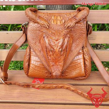 Túi Đeo Ngực Đầu Da Cá Sấu Thật TI0610