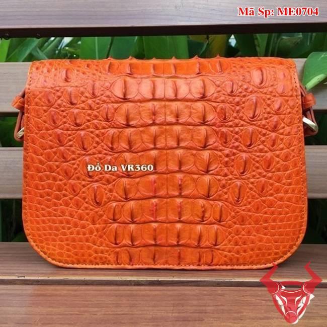 Túi Nữ Da Cá Sấu Đeo Chéo Cam ME0704