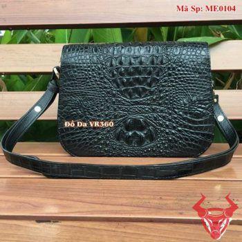 Túi Nữ Da Cá Sấu Đeo Chéo Đen ME0104