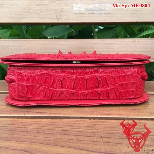 Túi Nữ Da Cá Sấu Đeo Chéo Đỏ ME0804