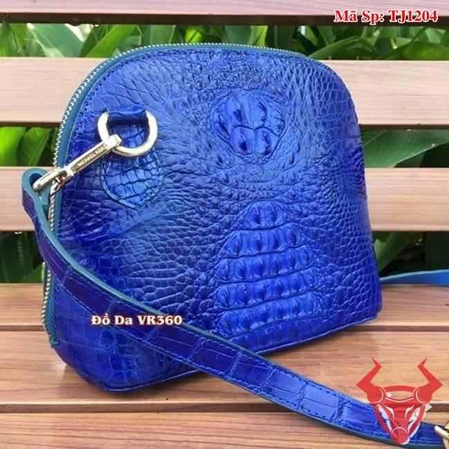 Túi Nữ Da Cá Sấu Đeo Chéo Xanh Coban TJ1204
