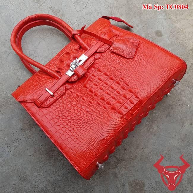 Túi Xách Hermes Cá Sấu Gù Đỏ Tươi TC0804