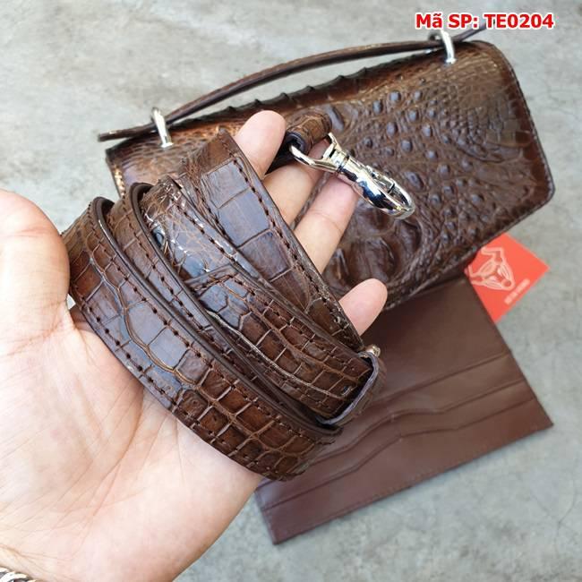 Túi Xách Phong Thư Cá Sấu Nâu Đen TE0204