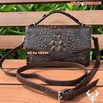 Túi Xách Phong Thư Da Cá Sấu Nâu Đất TE0204-8G