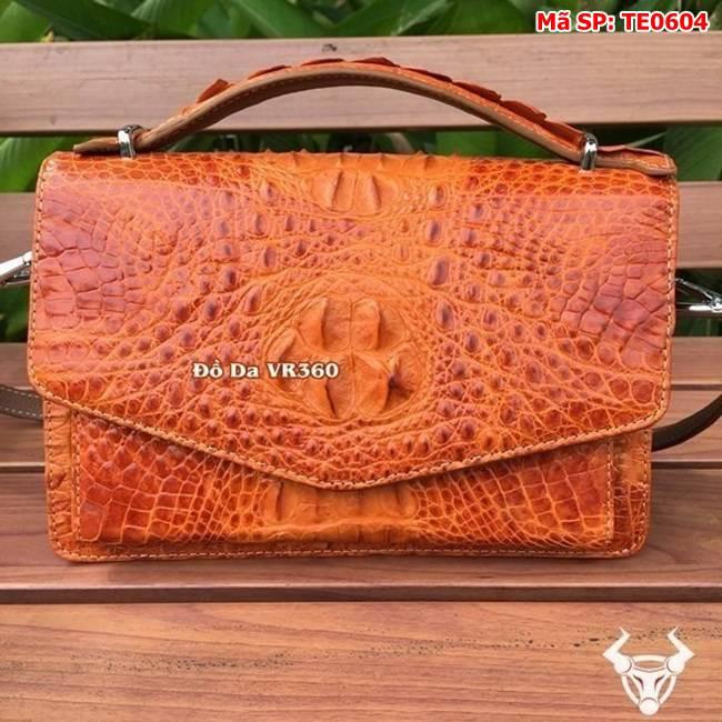 Túi Xách Nữ Da Cá Sấu Phong Thư Vàng Cam TE0604